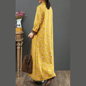 Vivid Chinese Button cotton stand collar Wardrobes Sleeve yellow prints Robe Dresses