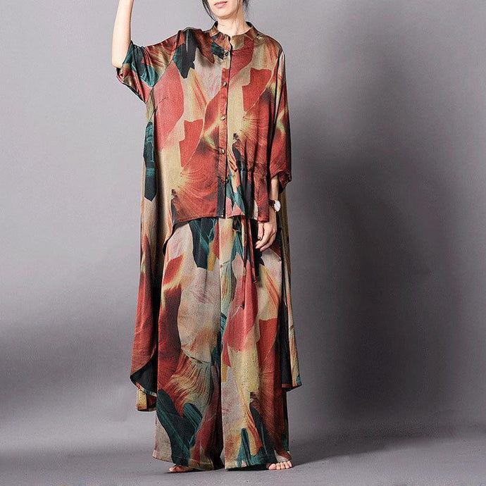 Vivid Cotton dress Women Spring Irregular Hem Printing Two Piece Set