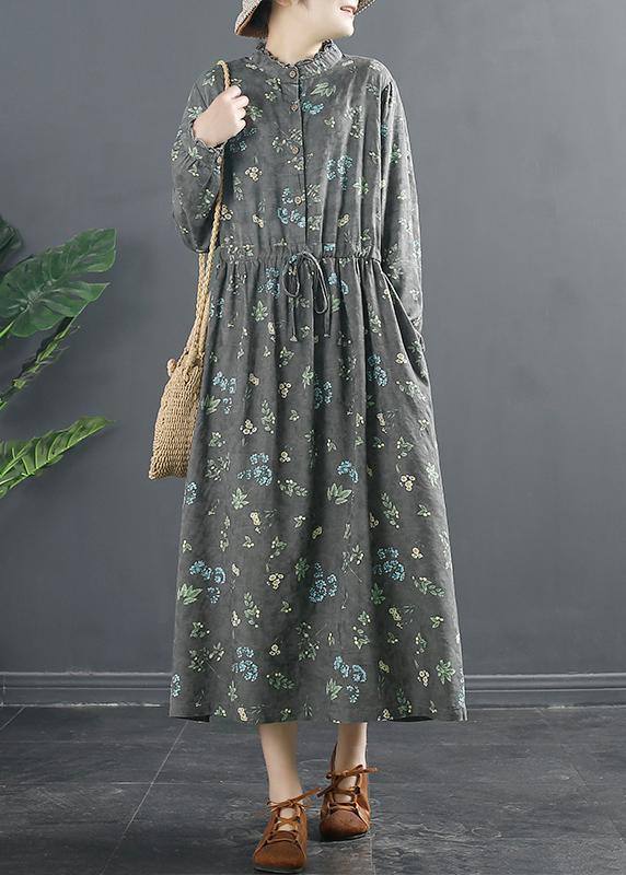 Vivid Drawstring Spring Long Design Gray Print Dresses
