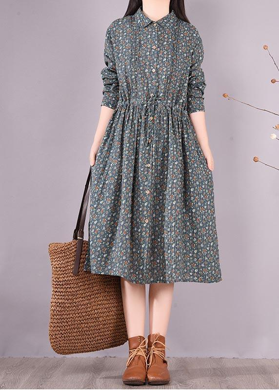 Vivid Green Print Dresses Lapel Drawstring A Line Spring Dress