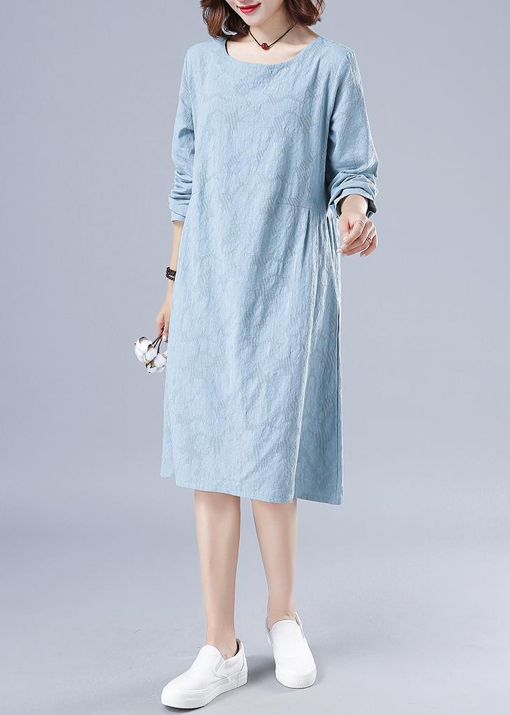 Vivid O Neck Spring Clothes For Women Wardrobes Light Blue Jacquard Dresses