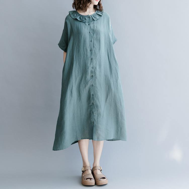 Vivid Peter pan Collar patchwork cotton linen quilting clothes Runway green Dresses summer