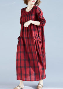 Vivid Red Plaid Tunics For Women O Neck Pockets Art Spring Dress