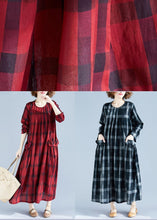 Load image into Gallery viewer, Vivid Red Plaid Tunics For Women O Neck Pockets Art Spring Dress