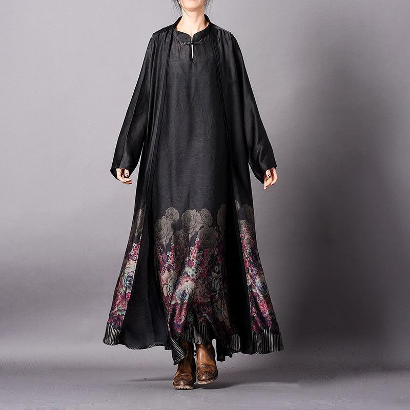 Vivid Silk Quilting Clothes Stitches Women Tencel Retro Print Long Cardigan Maxi Dress ( Limited Stock)