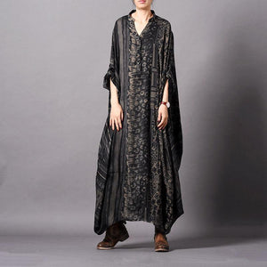 Vivid black striped print Tunic v neck Batwing Sleeve robes Dresses