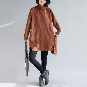 Vivid brown Cotton asymmetric tunic pattern Love Dresses