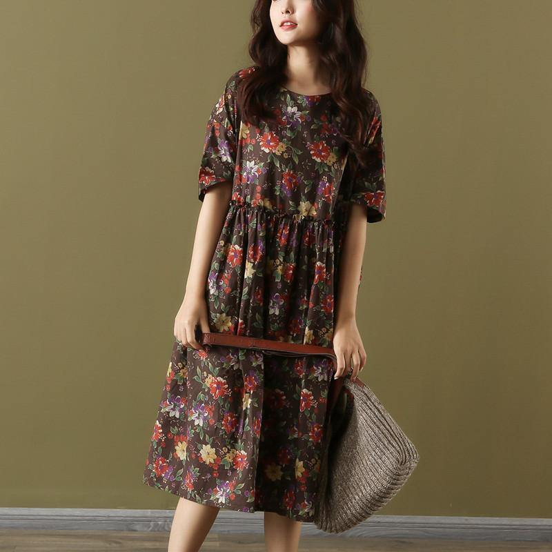 Vivid chocolate print Cotton Women o neck wrinkled loose summer Dresses