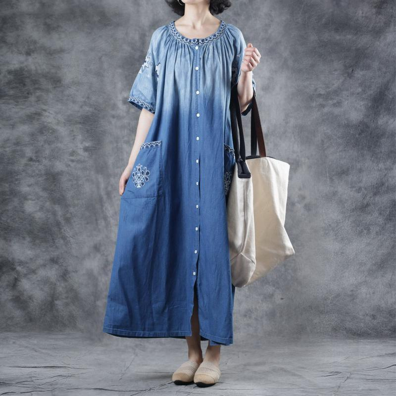 Vivid cotton Wardrobes Organic Embroidery Ethnic Style Long Denim Dress
