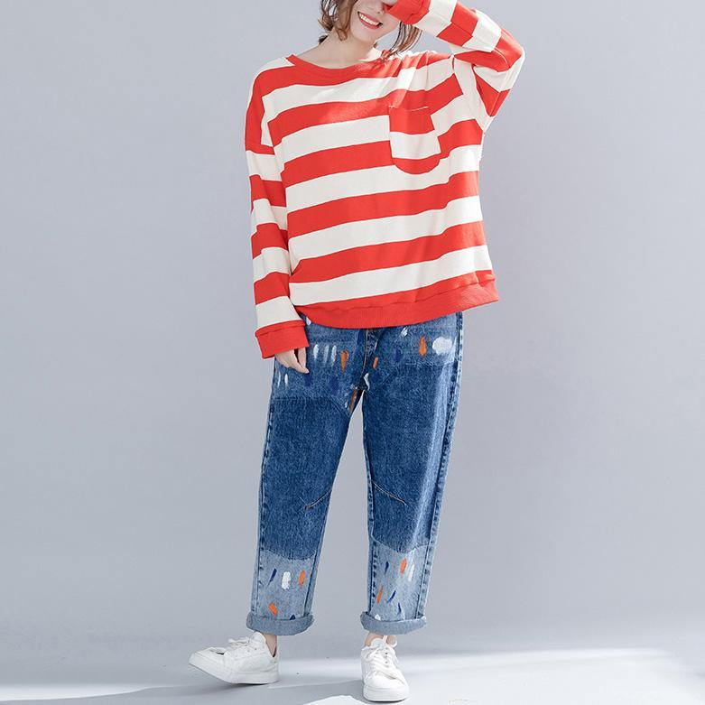 Vivid cotton clothes For Women plus size o neck Runway red striped baggy shirts spring