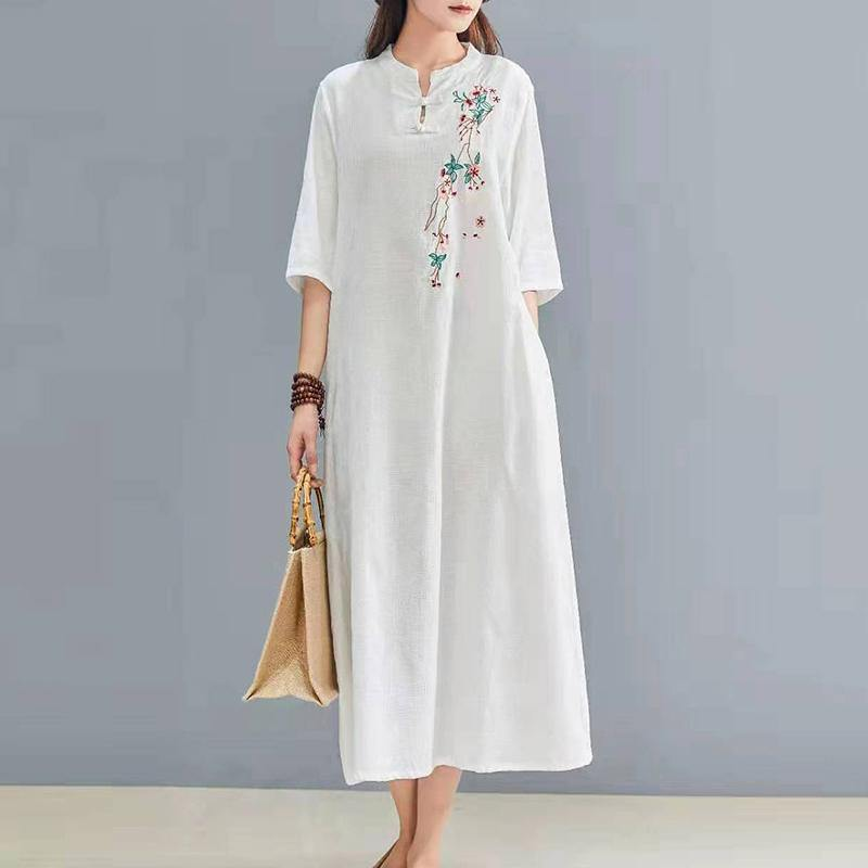 Vivid half sleeve linen outfit Catwalk white embroidery Dress autumn