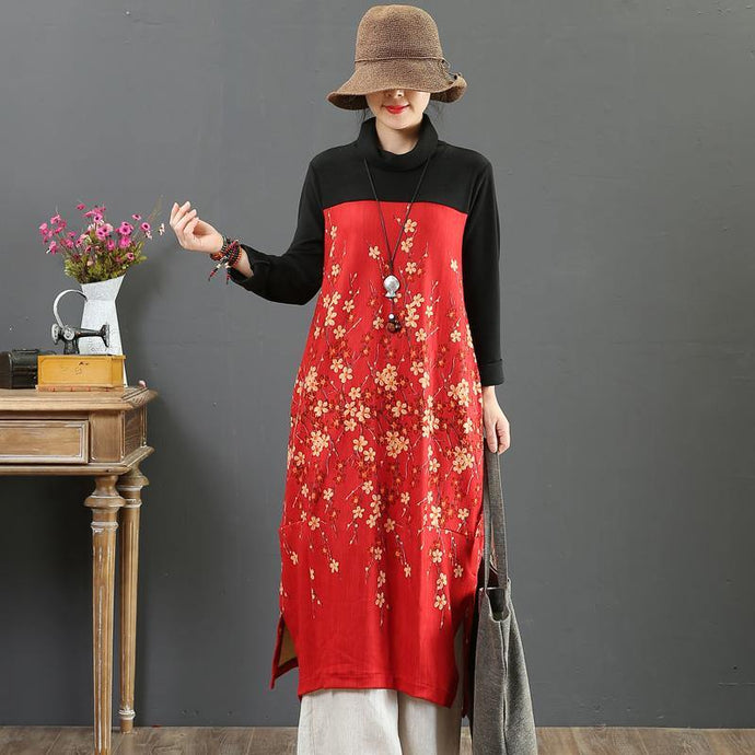 Vivid high neck patchwork cotton dress Work Outfits red print Robe Dresses fall