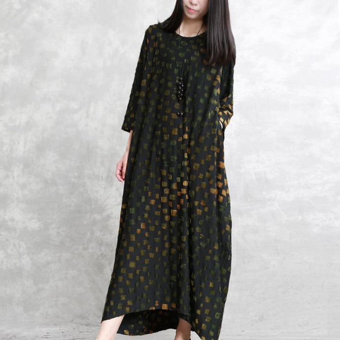 Vivid jacquard plaid cotton clothes plus size Catwalk black Maxi Dress srping