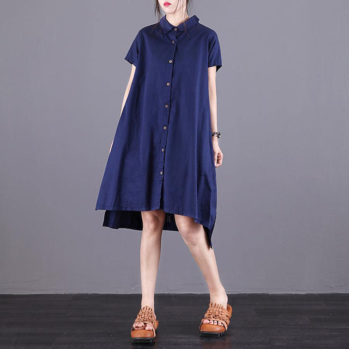 Vivid lapel asymmetric Cotton top Sewing blue embroidery Dress summer