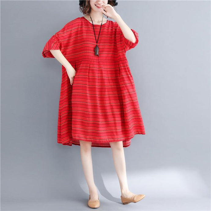 Vivid o neck pockets cotton linen Tunics Pakistani Fabrics red striped Dresses Summer