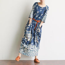Load image into Gallery viewer, Vivid prints cotton summer dresses design blue o neck Dress