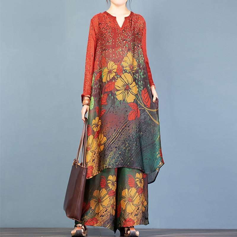 Vivid red print Tunics v neck +elastic waist wide leg pants