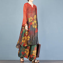 Load image into Gallery viewer, Vivid red print Tunics v neck +elastic waist wide leg pants