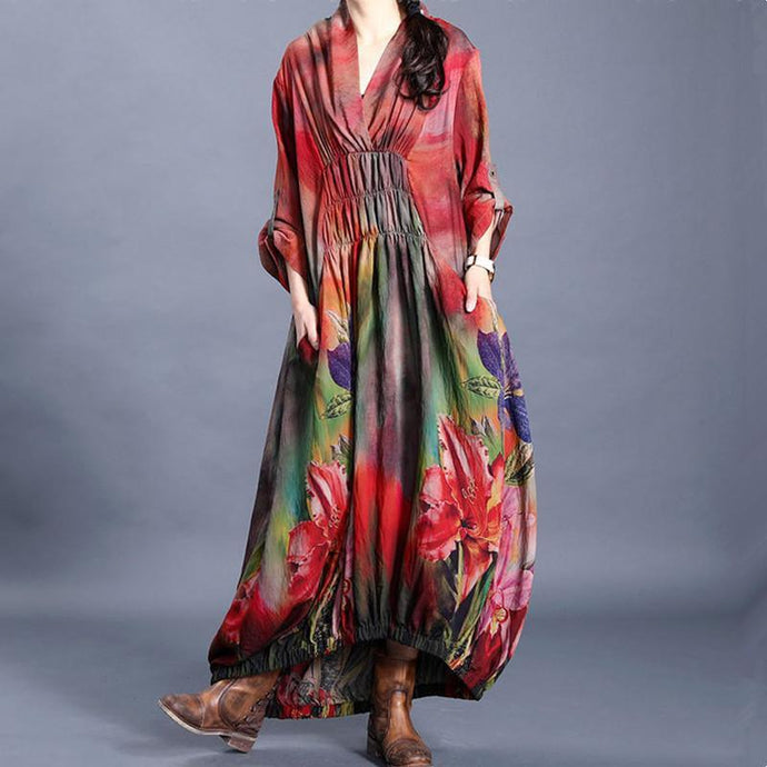 Vivid red print clothes v neck wrinkled Maxi Dress