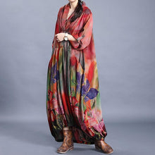 Load image into Gallery viewer, Vivid red print clothes v neck wrinkled Maxi Dress
