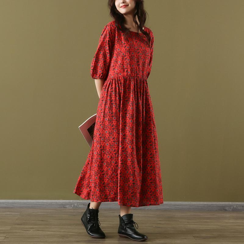 Vivid red print cotton Wardrobes o neck half sleeve long summer Dress