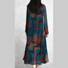 Laden Sie das Bild in den Galerie-Viewer, Vivid side open two pieces tunics for women Outfits blue print A Line cardigan summer