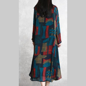 Vivid side open two pieces tunics for women Outfits blue print A Line cardigan summer