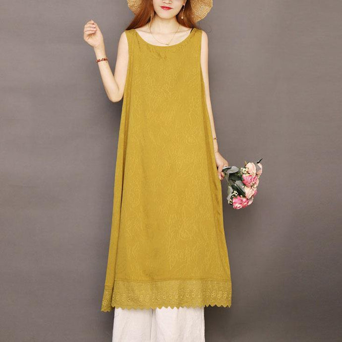 Vivid sleeveless Jacquard linen clothes For Women Work yellow Dresses summer