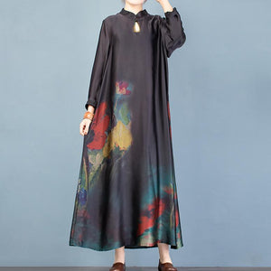 Vivid stand collar Chinese Button spring clothes linen black print Maxi Dresses