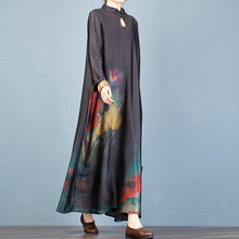 Load image into Gallery viewer, Vivid stand collar Chinese Button spring clothes linen black print Maxi Dresses