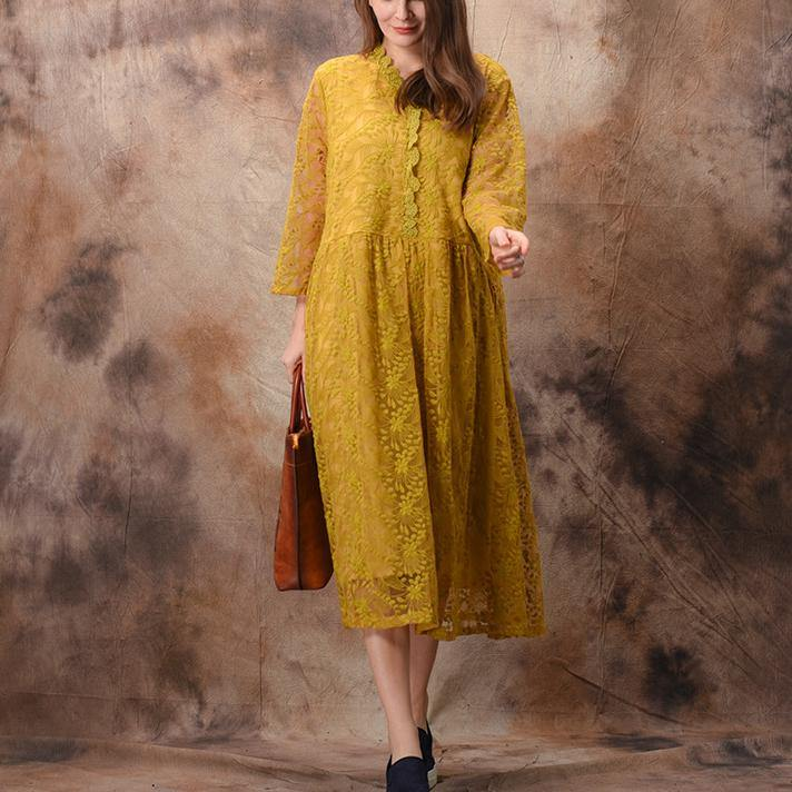 Vivid yellow lace dresses 2019 pattern v neck false two pieces Traveling Summer Dresses
