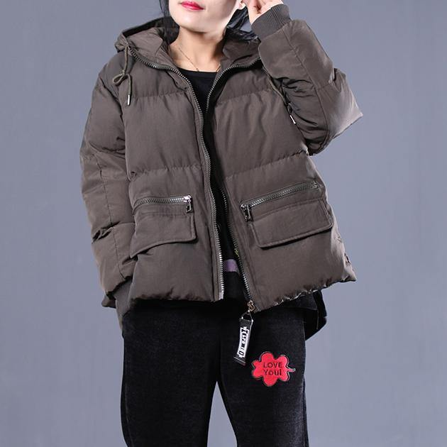 Warm army green quilted coat casual hooded zippered cotton jacket Elegant pockets patchwork coats