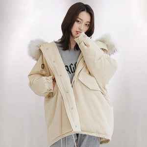 Warm beige white warm winter coat casual back open winter jacket fur collar Jackets