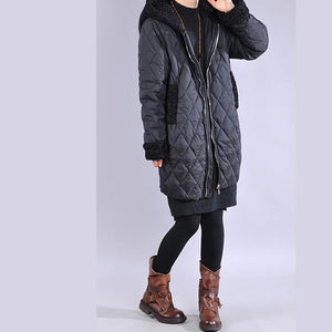 Warm black casual outfit oversize snow jackets winter hooded overcoat