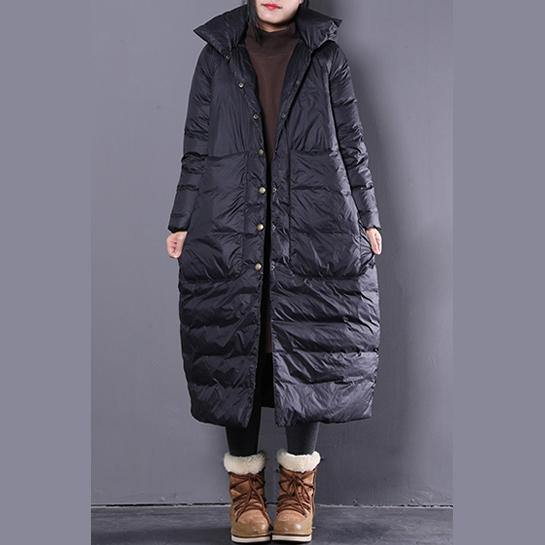 Warm black down coat plus size clothing hooded down coat Casual Large pockets down coat