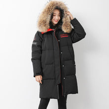 Load image into Gallery viewer, Warm black goose Down coat Loose fitting hooded womens parka long sleeve overcoat