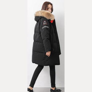 Warm black goose Down coat Loose fitting hooded womens parka long sleeve overcoat