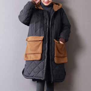 Warm black womens parkas oversize hooded New Large pockets winter outwear