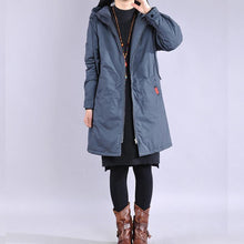 Load image into Gallery viewer, Warm blue zippered winter outwear trendy plus size Jackets & Coats hooded winter outwear