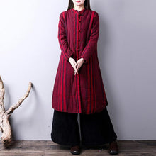 Load image into Gallery viewer, Warm burgundy striped women plus size stand collar sideYZ-2018111431