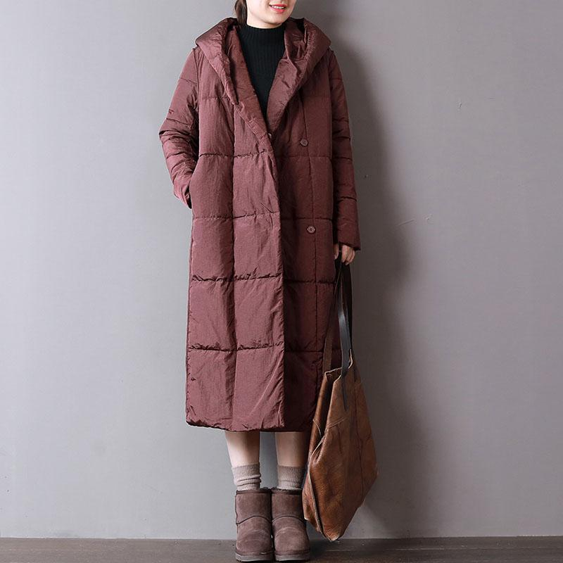 Warm burgundy women parka plus size clothing hooded Casual pockets Button Down winter coats