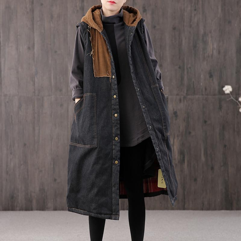Warm denim black Parkas for women casual Coats outwear hooded pockets sleeveless