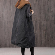 Load image into Gallery viewer, Warm denim black Parkas for women casual Coats outwear hooded pockets sleeveless