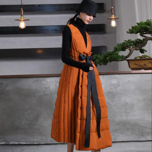 Warm orange goose Down dress Loose fitting v neck snow maxi dress tie waist winter dresses