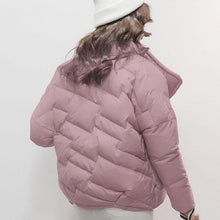 Load image into Gallery viewer, Warm pink down jacket woman plus size stand collar winter jacket zippered winter outwear
