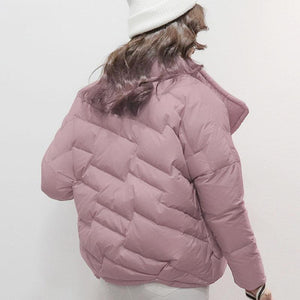 Warm pink down jacket woman plus size stand collar winter jacket zippered winter outwear