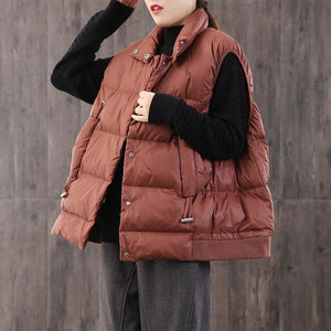 Warm red down coat winter casual stand collar womens parka sleeveless Casual winter outwear