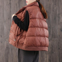 Load image into Gallery viewer, Warm red down coat winter casual stand collar womens parka sleeveless Casual winter outwear