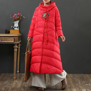 Warm red duck down coat plus size thick down jacket hooded top quality winter outwear