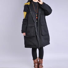 Load image into Gallery viewer, Warm yellow outwear trendy plus size Coats hooded zippered winter coats